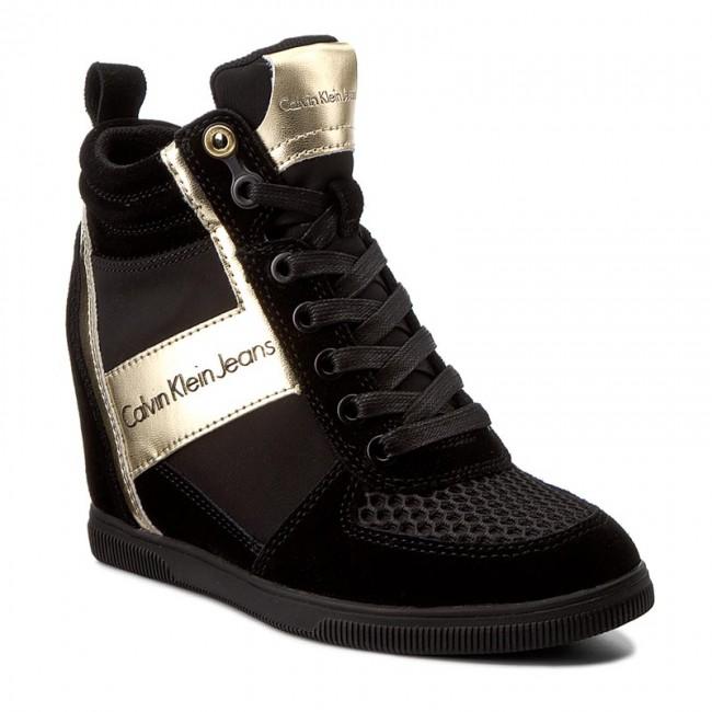Sneakers CALVIN R0648 KLEIN JEANS - Beth R0648 CALVIN Black/Gold - Sneakers - Low shoes - Women's shoes 3d3244