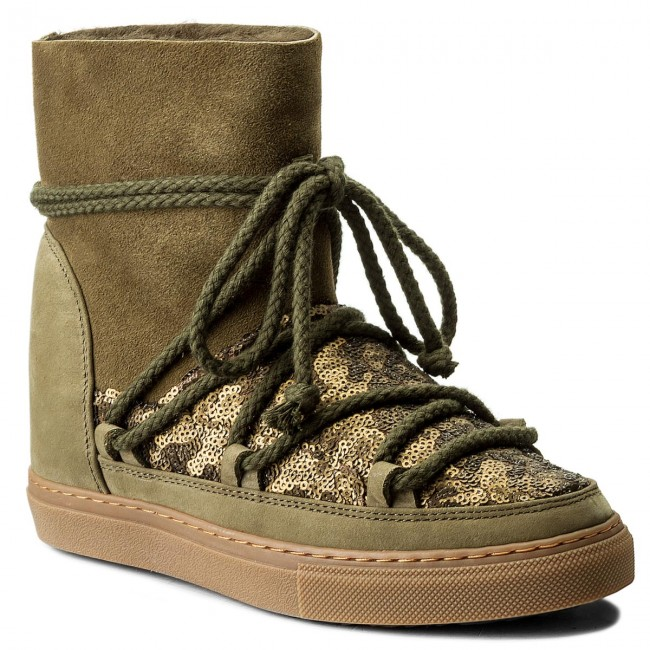 Shoes INUIKII - Sneaker Wedge Sequin Winter 30110  Olive - Winter Sequin boots - High boots and others - Women's shoes 7ab560