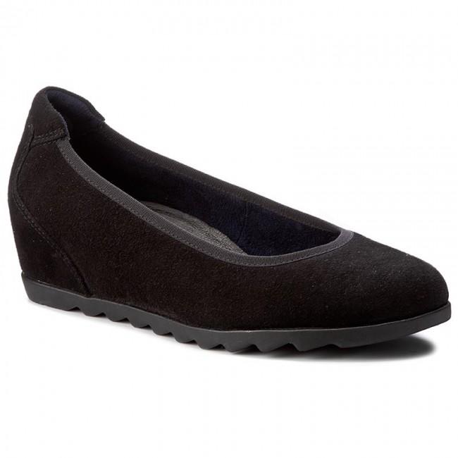 Shoes TAMARIS - 1-22424-29 Black Suede - 004 - Wedge-heeled shoes - Suede Low shoes - Women's shoes 907d71