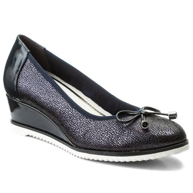 Shoes TAMARIS - 1-22303-20 Navy Structure 855 - shoes Wedge-heeled shoes - Low shoes - - Women's shoes 070d9b