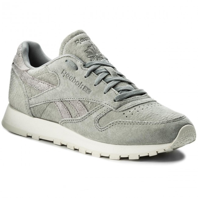 Shoes Reebok - Cl Lthr Shimmer - BS9864  Flint Grey/Silver/Chalk - Shimmer Sneakers - Low shoes - Women's shoes 7bb310