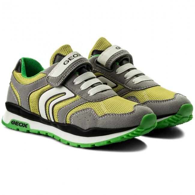 Shoes GEOX GEOX GEOX - J Pavel B J7215B 014AF C0666 S Grey/Lime - Velcro - Low shoes - Boy - Kids' shoes 081448