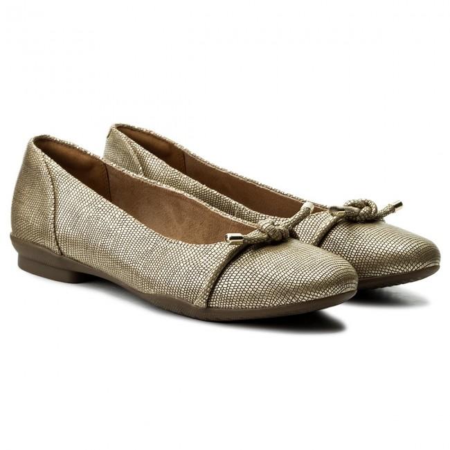 Flats CLARKS - Neenah Poppy Poppy Poppy 261323614 Gold Metallic - Ballerina shoes - Low shoes - Women's shoes a0006f