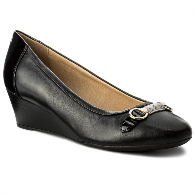 Shoes GEOX D82T4C - D Floralie C D82T4C GEOX 08502 C0210 Black/Sand - Wedge-heeled shoes - Low shoes - Women's shoes efe7b6