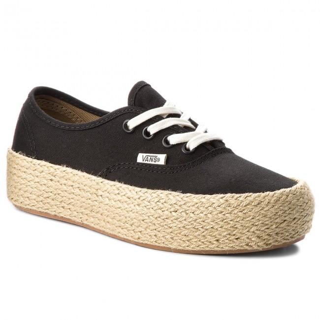 platfor espadrilles vans - authentique vn0a3naqblk Noir Noir Noir  - espadrilles - bas chaussures chaussures - femmes 67e217