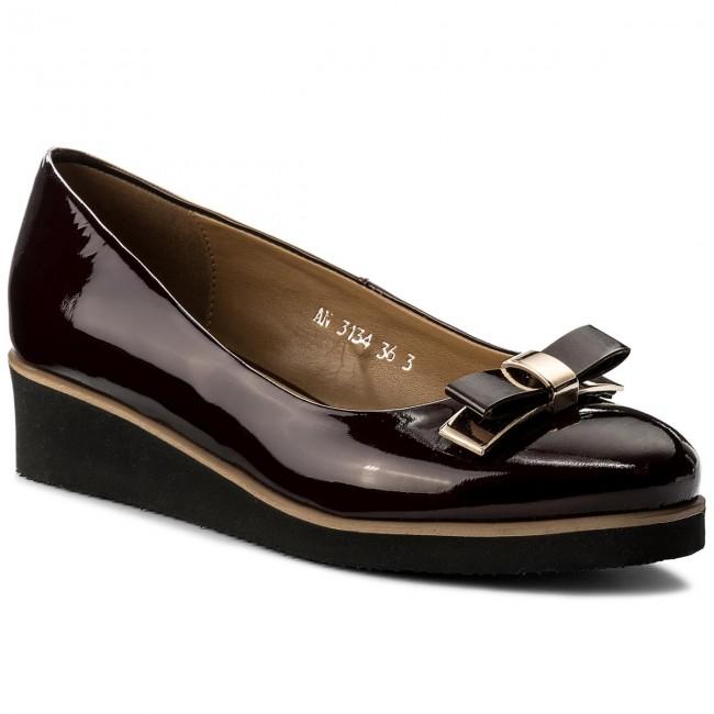 Shoes SAGAN - Metalik 3134  Bordowy Lakier Metalik - - Wedge-heeled shoes - Low shoes - Women's shoes 9bd042