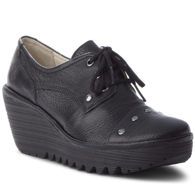 Shoes FLY LONDON - Yotifly shoes P500904000 Black - Wedge-heeled shoes Yotifly - Low shoes - Women's shoes 408085