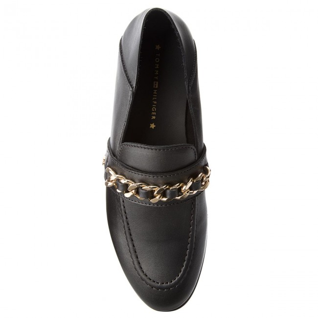 Shoes TOMMY HILFIGER - Chain Detail Detail Detail Loafer FW0FW02936 Black 990 - Flats - Low shoes - Women's shoes ff9a80