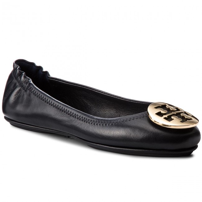 Flats TORY BURCH - Minnie Travel Ballet With Metal 444 Logo 50393 Perfect Navy/Gold 444 Metal - Ballerina shoes - Low shoes - Women's shoes f1dbef