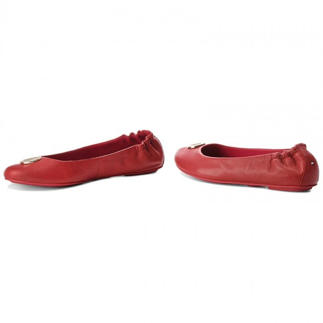 Flats TOMMY HILFIGER - Tommy Flexible Ballerina Leather FW0FW03401 Tommy - Red 645 - Ballerina shoes - Low shoes - Women's shoes 3958dd