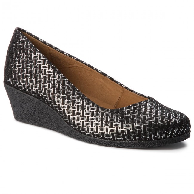Shoes CAPRICE - 9-22318-21 Blk/Silv.Woven 093 Low - Wedge-heeled shoes - Low 093 shoes - Women's shoes 5ef90b