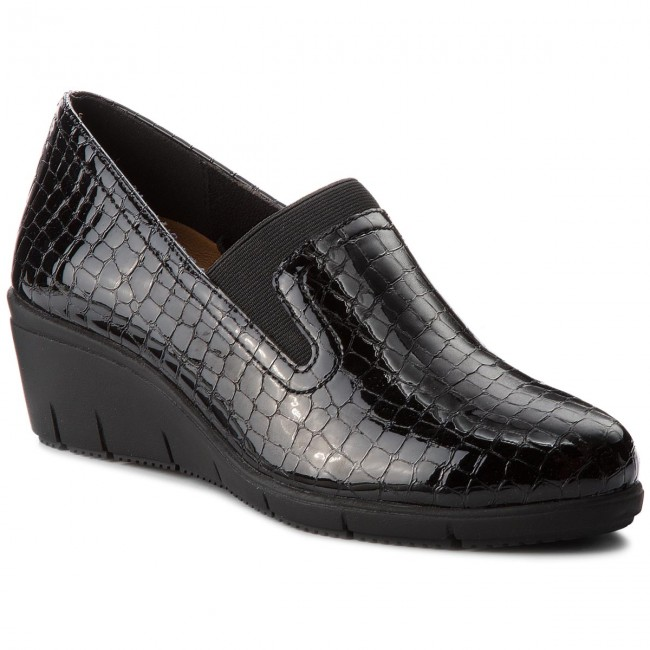 Shoes CAPRICE - 9-24701-21 Blk Croco shoes Pat. 064 - Wedge-heeled shoes Croco - Low shoes - Women's shoes bf7b9c