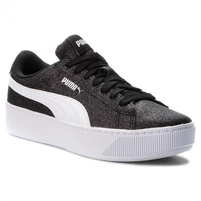 Sneakers PUMA - Vikky Platform Glitz - Jr 366856 02 Black/White/Silver - Glitz Sneakers - Low shoes - Women's shoes 92cdb6