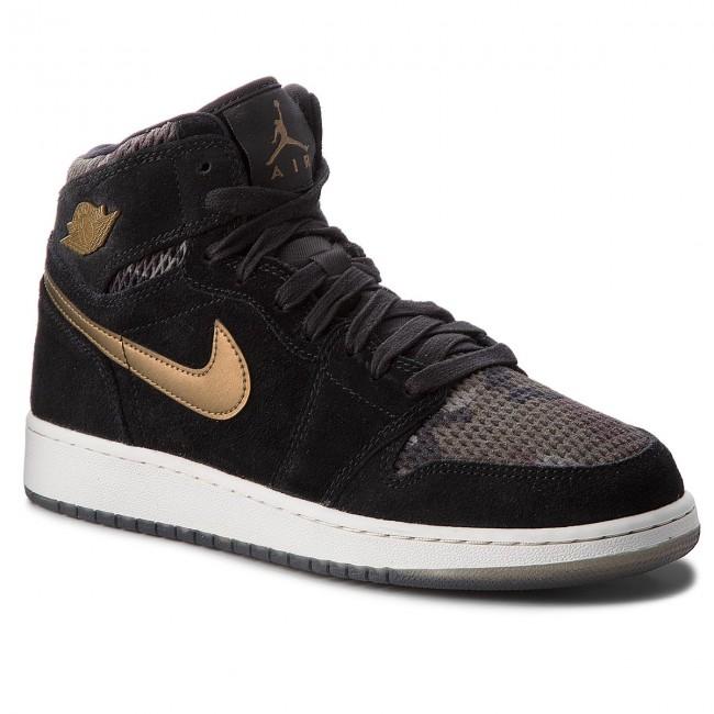 Shoes NIKE Ret - Air Jordan 1 Ret NIKE Hi Prem Hc 832596 030 Black/Mtlc Field/Light Bone - Sneakers - Low shoes - Women's shoes bb5546