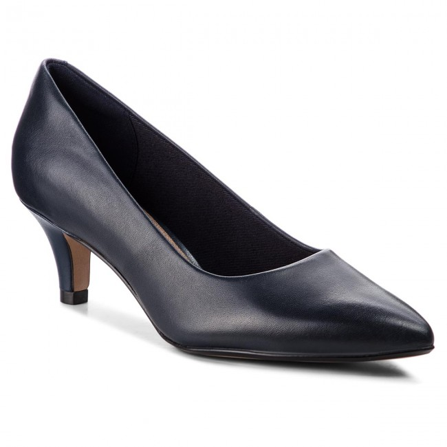 Shoes CLARKS - Linvale Jerica 261372114 Navy Leather Leather Leather - Heels - Low shoes - Women's shoes e398f1