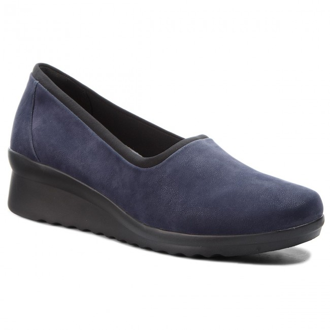 Shoes CLARKS - - Caddell Jaylin 261378254 Navy - - Wedge-heeled shoes - Low shoes - Women's shoes f1bafe