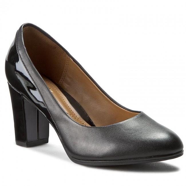 Shoes CLARKS - Basil Lea Auburn 261026705 Black Combi Lea Basil - Heels - Low shoes - Women's shoes b08226